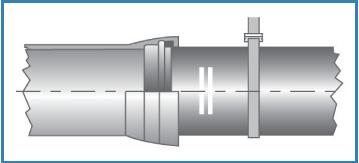 étape 7 assemblage canalisation fonte