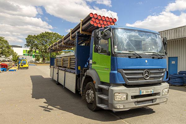 Service de livraison par poids lourds - barre de PEHD 12ml - réseaux aep