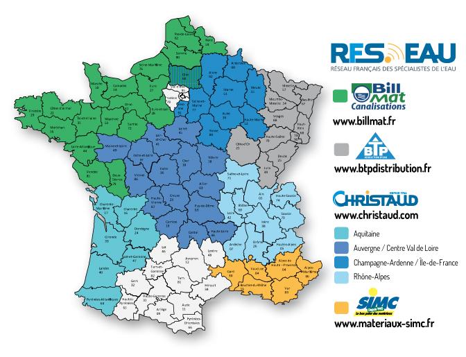 Carte de France RFSEAU réseau Français des spécialistes de l'eau